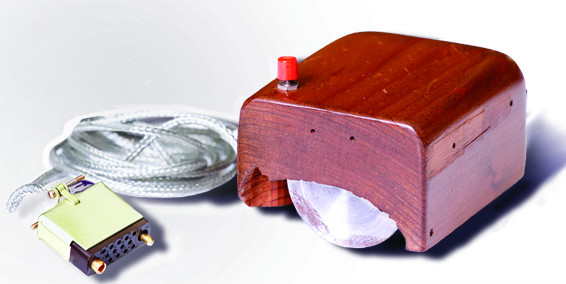 Photo of the first computer mouse