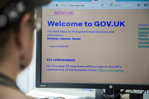 Marian Foley viewing GOV.UK with her personalised settings including low monitor resolution and low colour contrast settings