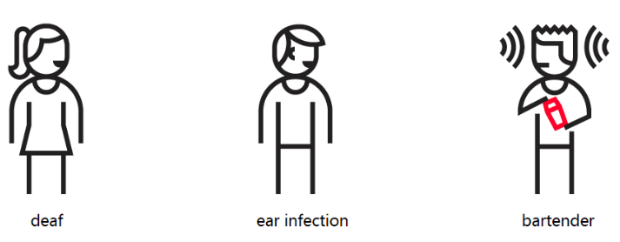 Picture showing permanent deafness similar to ear infection and bartender in noisy bar