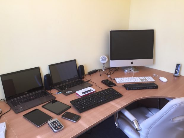 A selection of devices Chris uses for accessibility testing