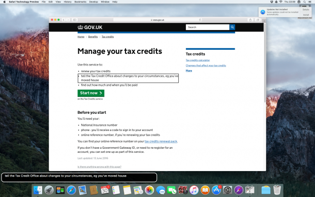Screenshot of VoiceOver's rotor and caption window on the Manage your tax credits start page. An outline box is displayed around what Voiceover currently has in focus. At the bottom of the screen a caption window is displayed, which updates every time VoiceOver announces something new.