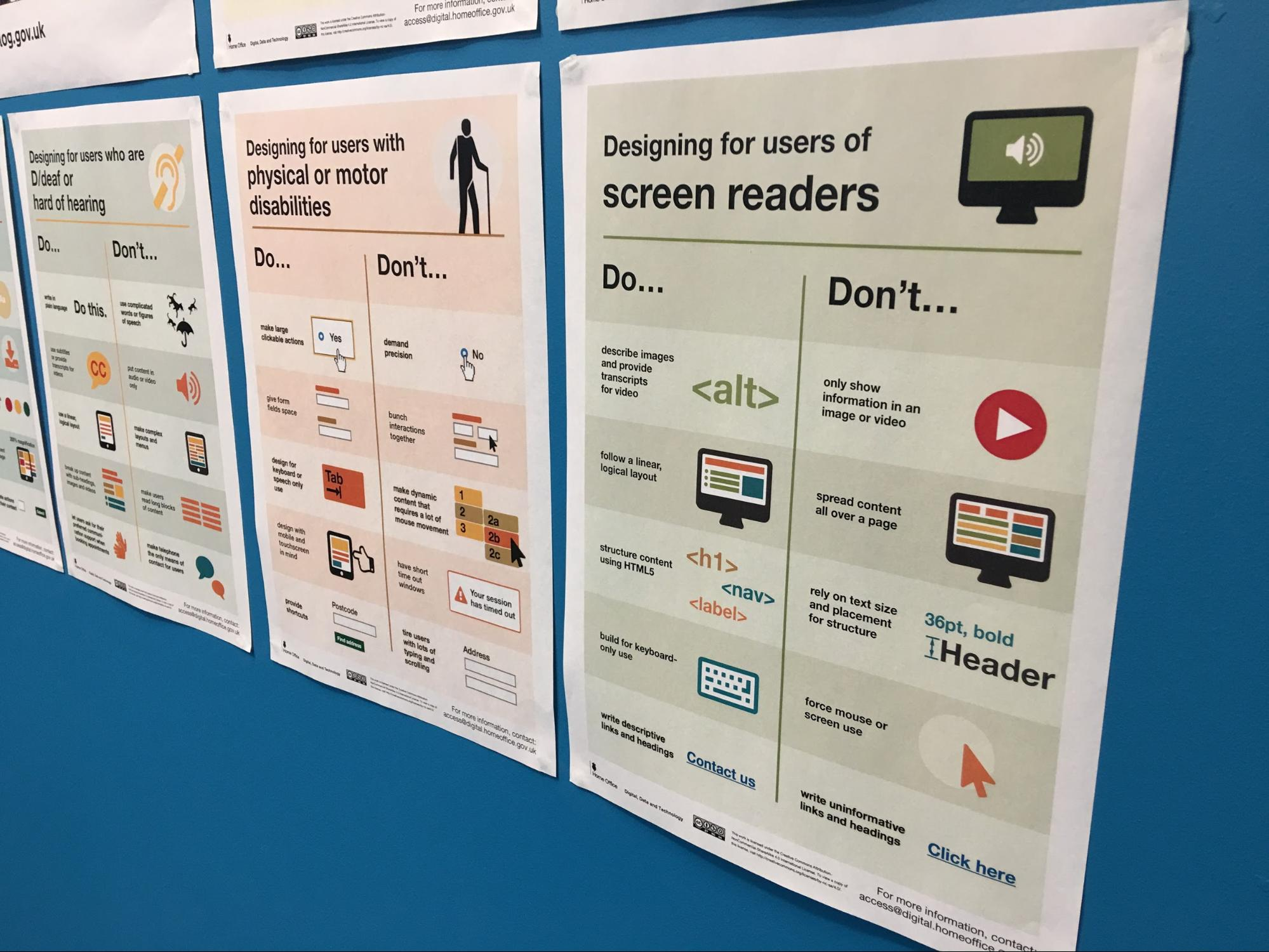 A poster showing a series of do's and don'ts - these are too small to be read properly