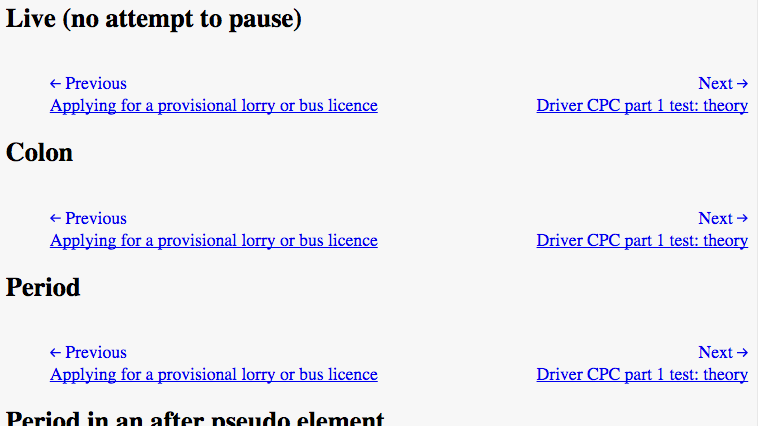 A test page showing 3 different navigation options - one with no hidden punctuation, one with a hidden colon and one with a hidden period