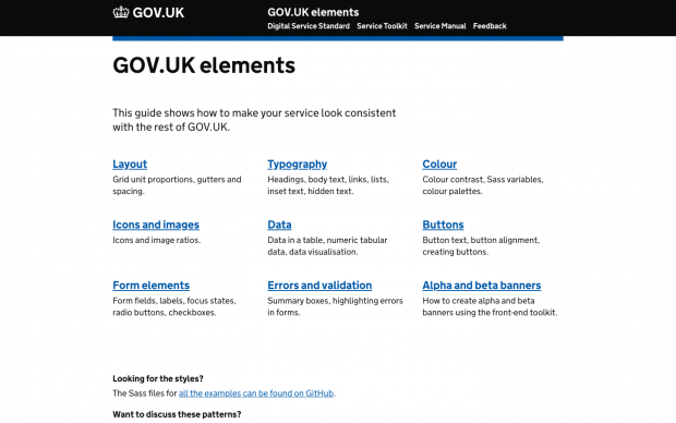 A screenshot of the GOV.UK Elements page