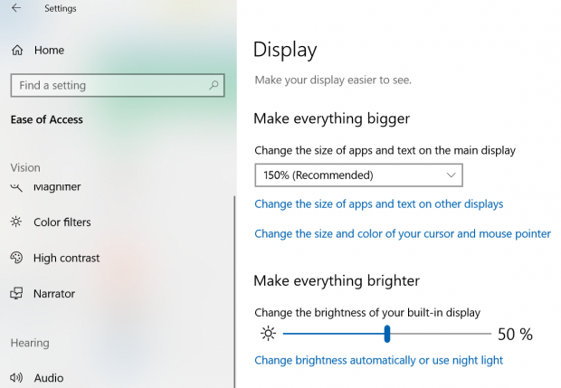 Windows Ease of Access settings, showing the option to increase the size of screen display