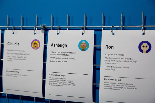 A photo of posters for the 'Claudia', 'Ashleigh' and 'Ron' personas