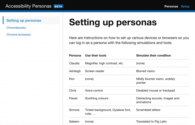 A screenshot of a page headlined 'Setting up personas'
