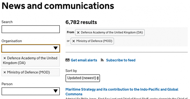 A screenshot of search results, filtered using the organisation filters 'Defence Academy of the United Kingdom (DA)' and 'Ministry of Defence (MOD)'