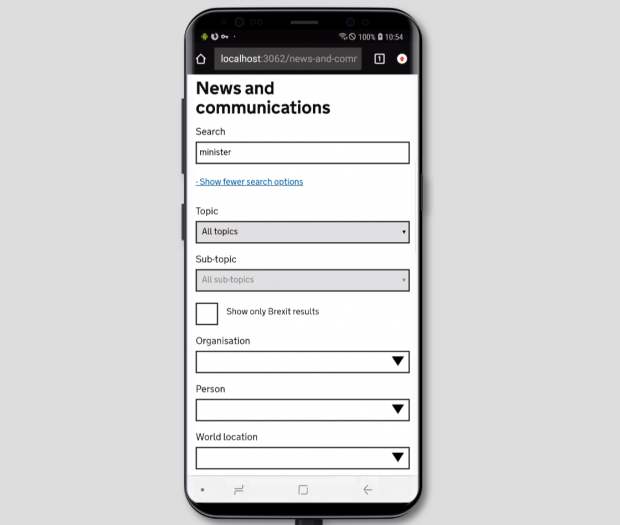 A picture of a phone showing 'News and communications' as a heading and a search box underneath with 'minister' typed into it