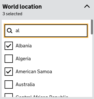 A screenshot showing the heading 'world location' with a search box with 'al' typed into it underneath, and a list of checkboxes saying 'Albania, Algeria, American Samoa, Australia' underneath, with 'Albania' and 'American Samoa' ticked