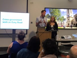 Ben Railton from DWP and Jane Wilkinson from HMRC at the cross government accessibility meet up talking about Easy Read.