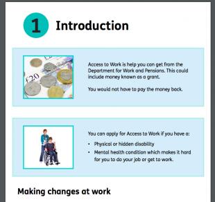 Access to Work prototype showing original design.