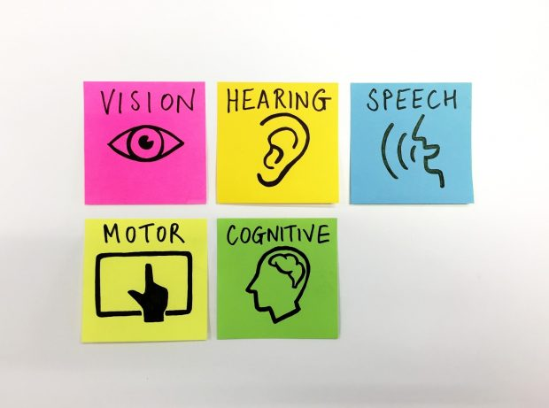 Vision, hearing, speech, motor and cognitive on sticky notes