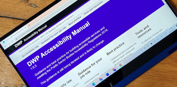 A tablet showing the DWP Accessibility Manual website