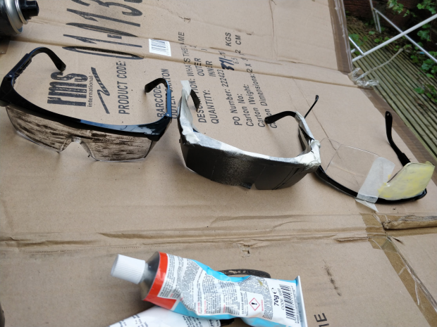 3 pairs of glasses and glue on cardboard