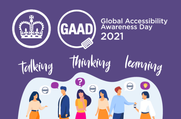 """Global Accessibility Awareness Day 2021 poster with the text """"talking, thinking and learning about accessibility"""""""