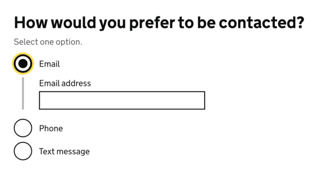 An example of a radio button answer using a conditional reveal to open an input field.